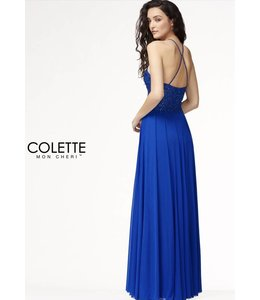 Colette by Mon Cherie Flowy High Neck Wine A-line Prom Dress