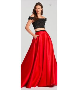 Ellie Wilde by Mon Cheri Two piece off the shoulder with a line dress