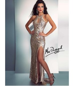 MacDuggal Gold Halter Gown 3434A