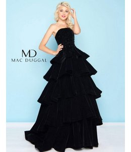 MacDuggal Black Bustier Tiered Gown 66344