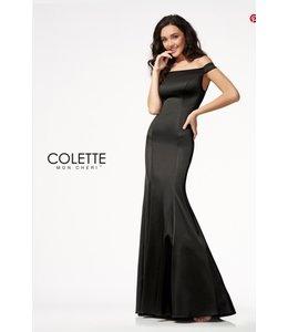 Colette by Mon Cherie Classic Stretch Satin Off the Shoulder Evening Dress CL21716