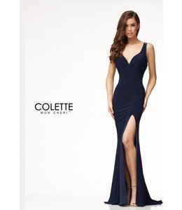 Colette by Mon Cherie Simple Jersey Formal Dress Open Back CL18280