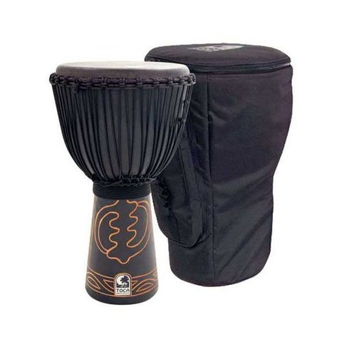 "Toca 10"" Rope Tuned Black Mamba Djembe w/Pro Bag & Djembe Hat"