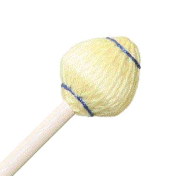 "Mike Balter Mike Balter 61R Mushroom Head Series 15 1/2"" Medium Hard Yellow Yarn Marimba/Vibe Mallets with Rattan Handles"