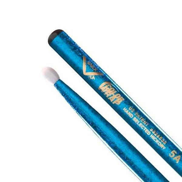 Vater Vater Color Wrap 5A Blue Sparkle Nylon Tip Drumsticks