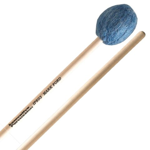 Innovative Percussion Medium Hard Legato Marimba Mallets - Deep Blue Yarn - Birch
