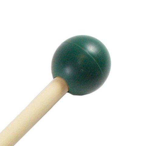 "Mike Balter 105R Gradioso Series 16 1/8"" Medium Hard Round Dark Green Rubber Marimba/Xylophone Mallets with Rattan Handles"
