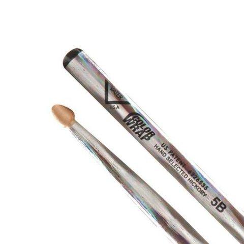 Vater Color Wrap 5B Silver Optic Wood Tip Drumsticks