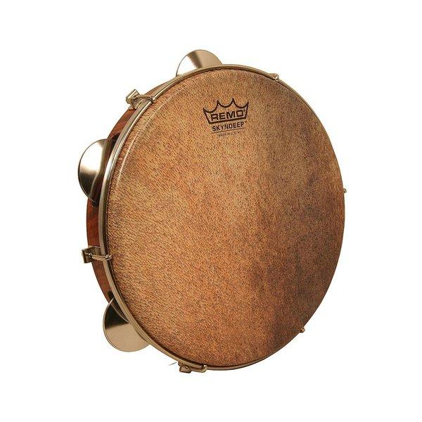 Remo Remo Choro Pandeiro 10x1.75 Key-Tuned Skyndeep Goat Brown Ultratac Drumhead Brass Jingles - Antique Veneer Finish