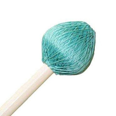 "Mike Balter 125R Super Vibe Series 15 1/2"" Medium Soft Aqua Polyester Vibe Mallets with Rattan Handles"