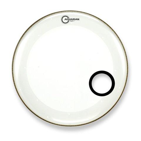 "Aquarian Force I Series 16"" Bass Drum Resonant Head and Porthole Drumhead - White"