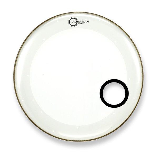 "Aquarian Aquarian Force I Series 16"" Bass Drum Resonant Head and Porthole Drumhead - White"