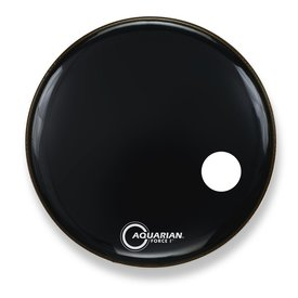 "Aquarian Aquarian Force I Series 22"" Bass Drum Resonant Head and Porthole Drumhead - Black"