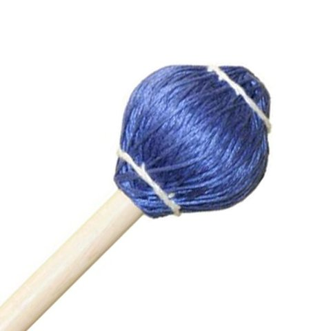 "Mike Balter 23R Pro Vibe Series 15 1/2"" Medium Blue Cord Marimba/Vibe Mallets with Rattan Handles"