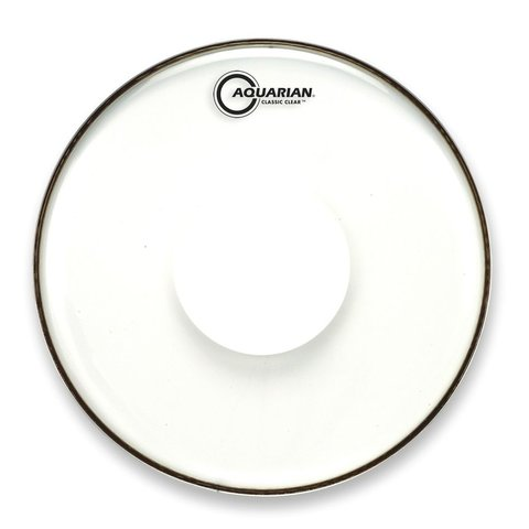"Aquarian Classic Clear Series 15"" Drumhead with Power Dot"