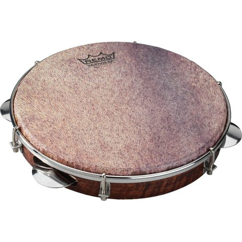 Remo Samba Choro Pandeiro 10x1.75 Key-Tuned Skyndeep Ultratac Goat Brown Drumhead with Chrome Jingles - Antique Veneer Finish