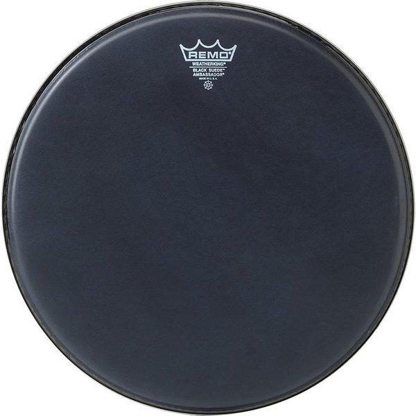 """Remo Remo Black Suede Ambassador 13"""" Diameter Batter Drumhead - Black Dot Bottom"""