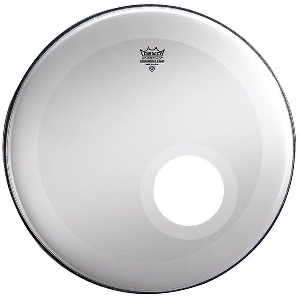 "Remo Remo Smooth White Powerstroke 3 - 22"" Diameter Bass Drumhead - Dynamo Installed with No Stripe"