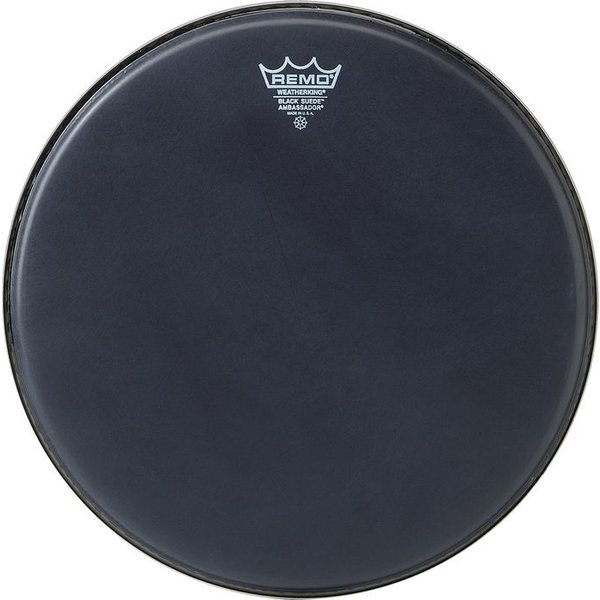 "Remo Remo Black Suede Ambassador 14"" Diameter Batter Drumhead - Black Dot Bottom"