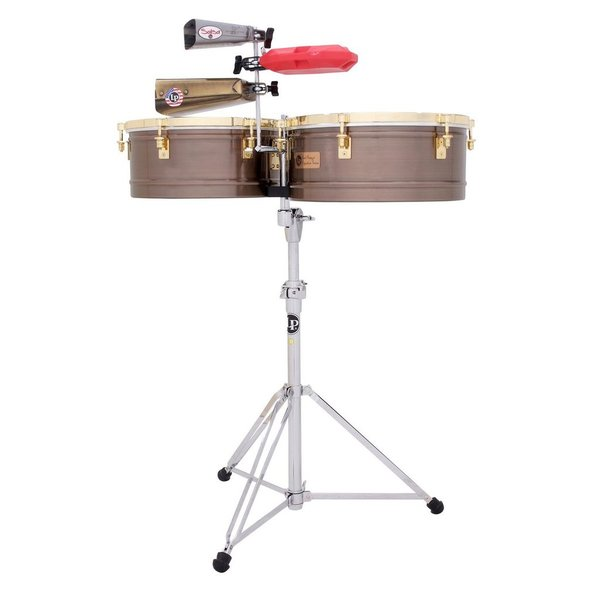 LP LP Karl Perazzo 14 / 15 Antique Bronze Timbales w/Stand