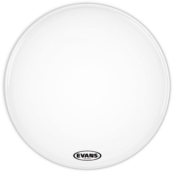 "Evans Evans EQ3 Resonant Smooth White 24"" No Port Bass Drumhead"
