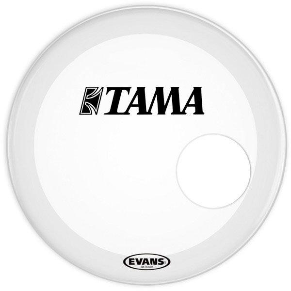 "Evans Evans EQ3 Resonant Smooth White 24"" Bass Drumhead w/ Tama Logo Applied (12:00)"