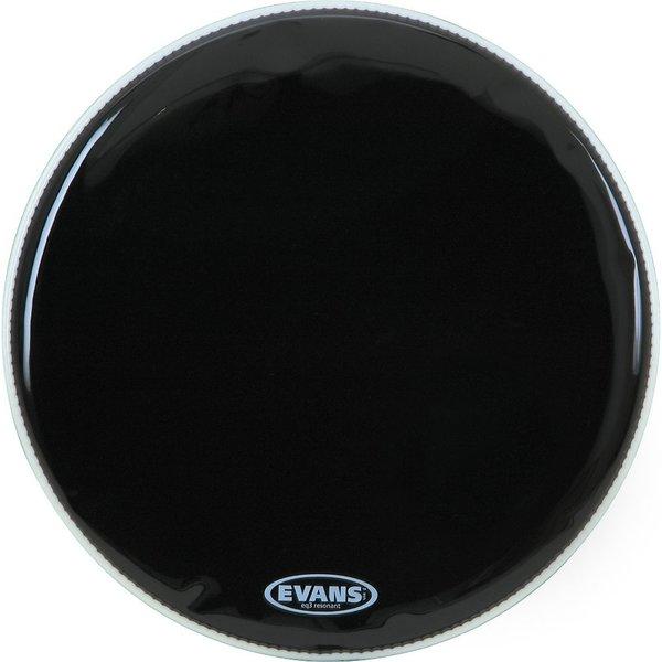 """Evans Evans EQ3 18"""" Black Resonant Bass Drumhead; No Port"""