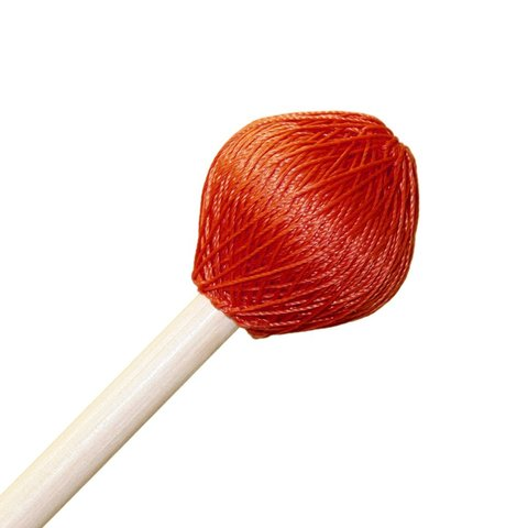 "Mike Balter 124R Super Vibe Series 15 1/2"" Medium Red Polyester Vibe Mallets with Rattan Handles"