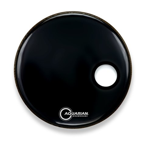 "Aquarian Ported Small Hole 22"" Bass Drumhead - Black"