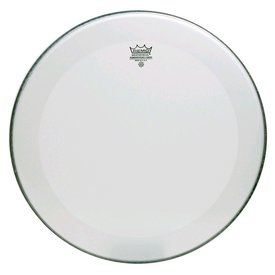"Remo Remo Smooth White Powerstroke 3 - 24"" Diameter Bass Drumhead - 2-1/2"" White Falam Patch"