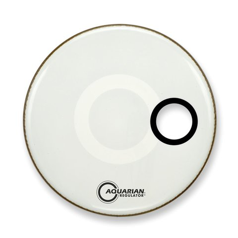 "Aquarian Regulator Series Small Hole 20"" Drumhead with Ring - White"