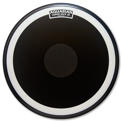 "Aquarian Super-Kick Series Texture Coated 18"" (1-Ply) Drumhead with Power Dot - Black"