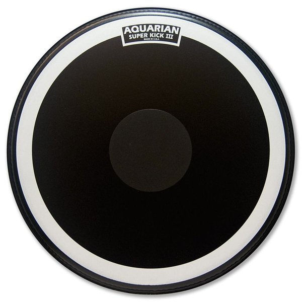 "Aquarian Aquarian Super-Kick Series Texture Coated 18"" (1-Ply) Drumhead with Power Dot - Black"