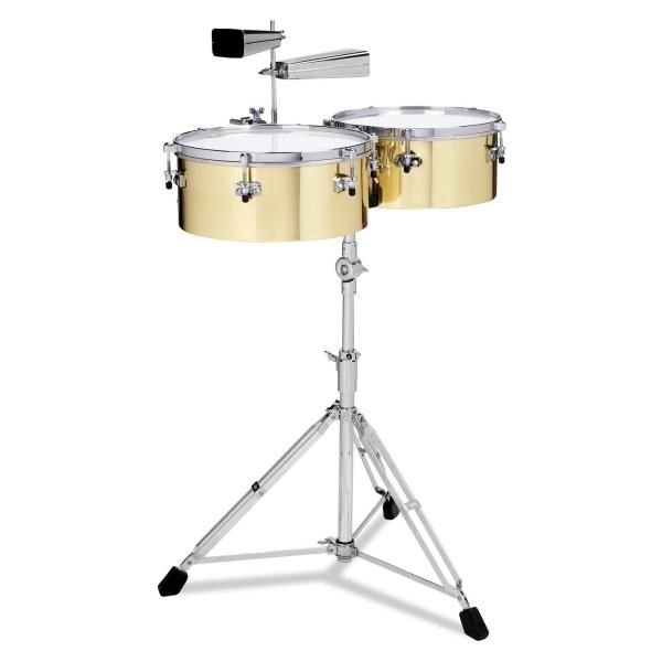 Gon Bops Gon Bops Alex Acuna Series Timbales 14 & 15 Brass w/Stand and Cowbell Holder