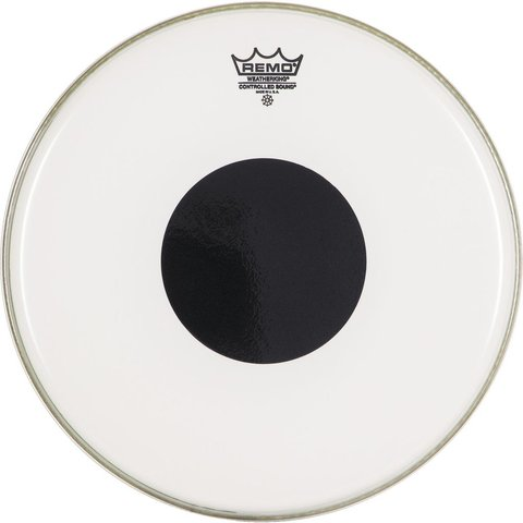 "Remo Clear Controlled Sound 22"" Diameter Bass Drumhead - Black with Dot on Top"