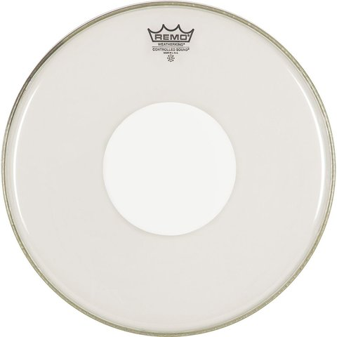 "Remo Clear Controlled Sound 12"" Diameter Batter Drumhead - White Dot on Top"