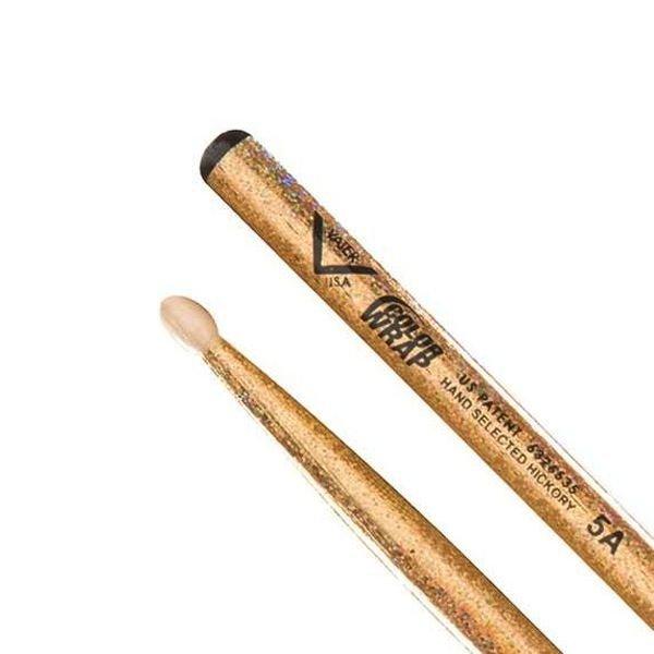 Vater Vater Color Wrap 5A Gold Sparkle Wood Tip Drumsticks