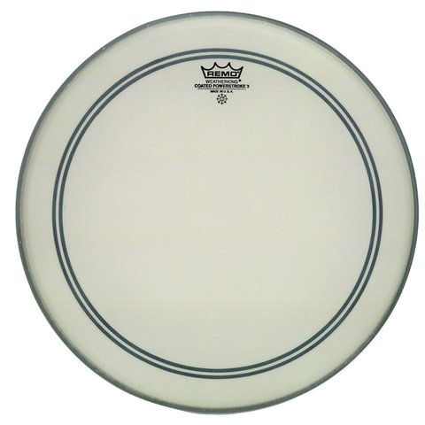 "Remo Coated Powerstroke 3 22"" Diameter Bass Drumhead - 2-1/2"" White Falam Patch"