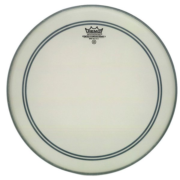 "Remo Remo Coated Powerstroke 3 22"" Diameter Bass Drumhead - 2-1/2"" White Falam Patch"