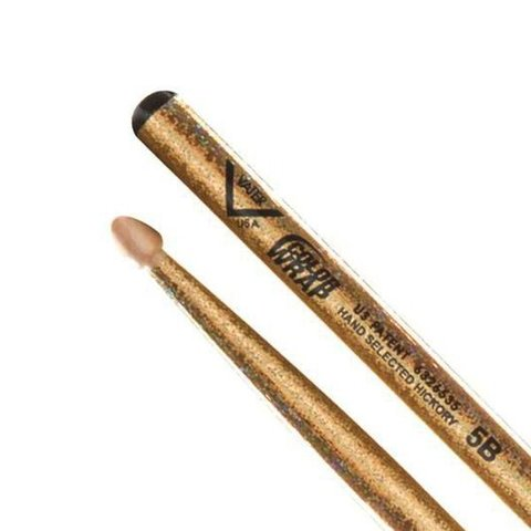 Vater Color Wrap 5B Gold Sparkle Wood Tip Drumsticks