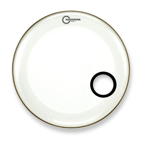 "Aquarian Force I Series 22"" Bass Drum Resonant Head and Porthole Drumhead - White"
