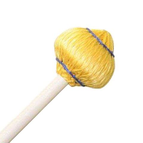 "Mike Balter 64R Mushroom Head Series 15 1/2"" Medium Soft Yellow Cord Marimba/Vibe Mallets with Rattan Handles"