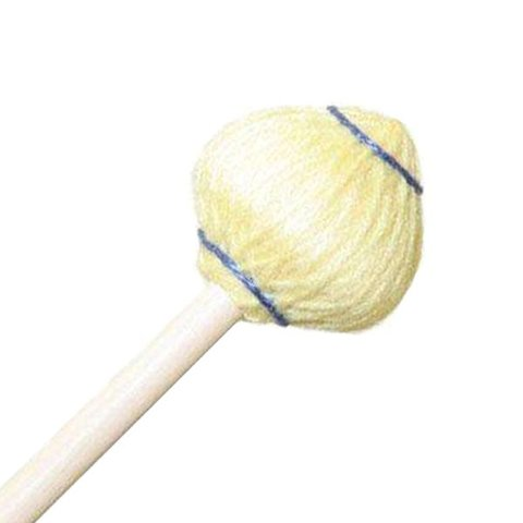 "Mike Balter 63R Mushroom Head Series 15 1/2"" Medium Soft Yellow Yarn Marimba/Vibe Mallets with Rattan Handles"