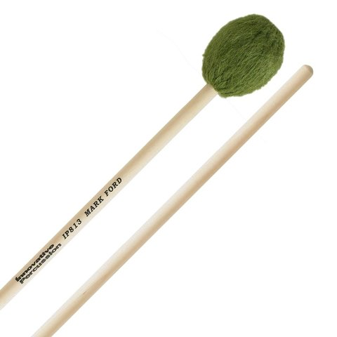 Innovative Percussion Strong Legato Medium Hard Marimba - Green Yarn - Birch