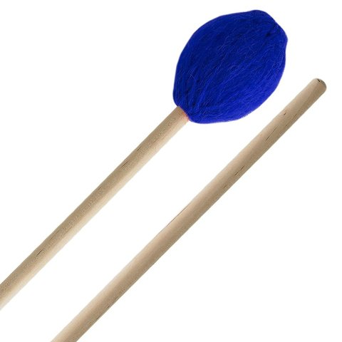Innovative Percussion Medium Soft Marimba Mallets - Electric Blue Yarn - Birch