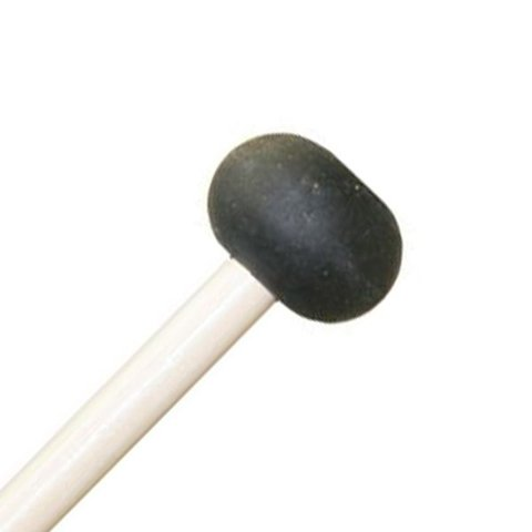 "Mike Balter 1B Unwound Series 15 1/8"" Extra Soft Oval Black Rubber Marimba Mallets with Birch Handles"