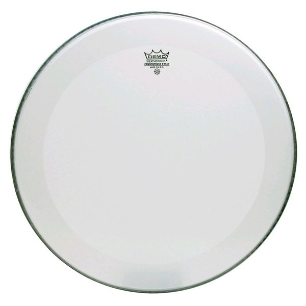 "Remo Remo Smooth White Powerstroke 3 - 22"" Diameter Bass Drumhead - 2-1/2"" White Falam Patch"