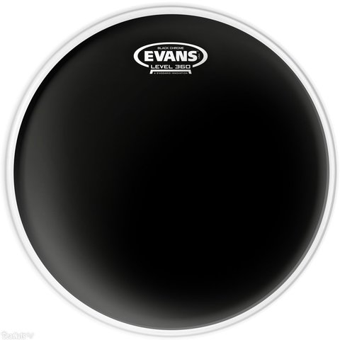 "Evans Black Chrome 10"" Batter Tom Drumhead"