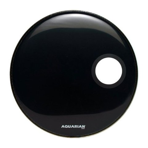 "Aquarian Regulator Series Small Hole 20"" Drumhead with Ring - Black"