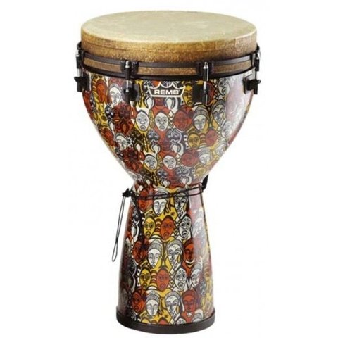 Remo Key-Tuned 10 Diameter 24 Height Djembe - Leon Mobley Multi-Mask Fabric